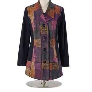Plaid print suede & knit  jacket